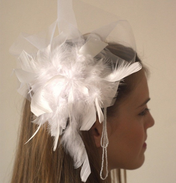 Romantic Wedding Head Piece with Tulle, Feather and Beads