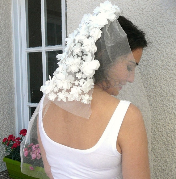 White Bridal Veil With Flowers
