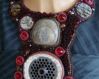 "Bead Embroidery Necklace  ""Timeeater"""