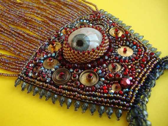 "Bead Embroidered necklace ""Augenblick"""