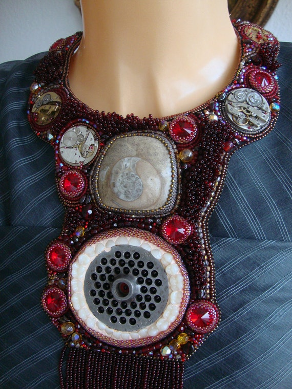 """Bead Embroidery Necklace  """"Timeeater"""""""