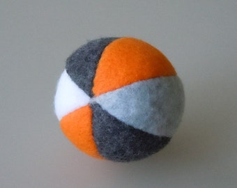 Catnip Ball Cat Toy Grey Orange and White Fleece