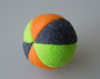Catnip Fleece Ball Cat Toy Orange Lime Green and Dark Gray