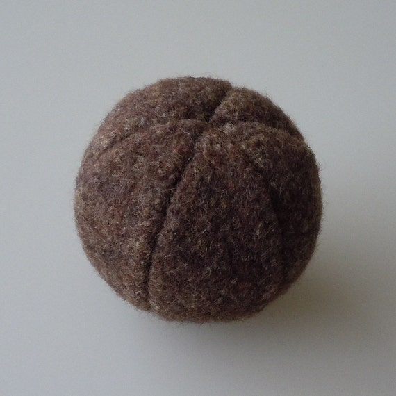 Felted Brown Tweed Wool Catnip Ball