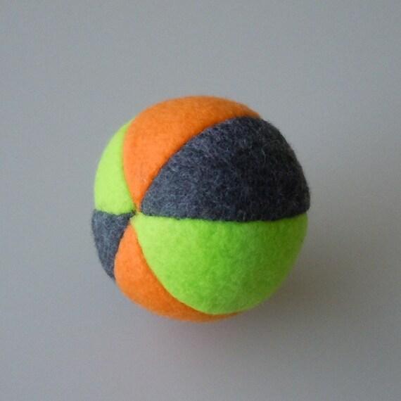 Catnip Fleece Ball Cat Toy Orange Lime Green and Dark Gray