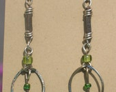 Wire and Leather Earrings - A Bit Oval