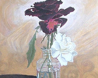 "Black Rose/Gardenia - Original Acrylic Painting by Edna Rappaport - Black Magic Rose & Gardenias Fantasy  - 18""x24""x1.5"" Gallery Wrap"