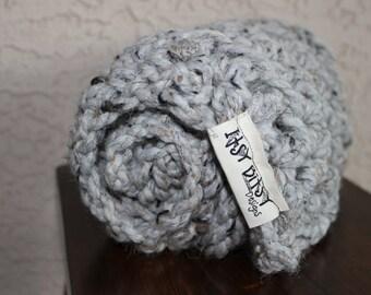 Baby blanket-crochet blanket-gray chunky blanket