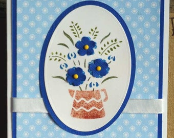 Copper Pitcher and Blue Flowers All Occasion Card