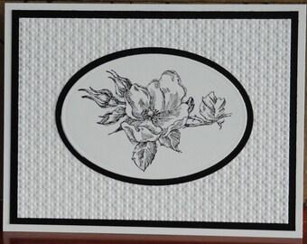 Black & White Dogwood Flower Card