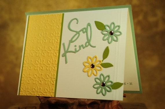 """Thank You Embossed Die Cut """"So Kind"""" Card"""