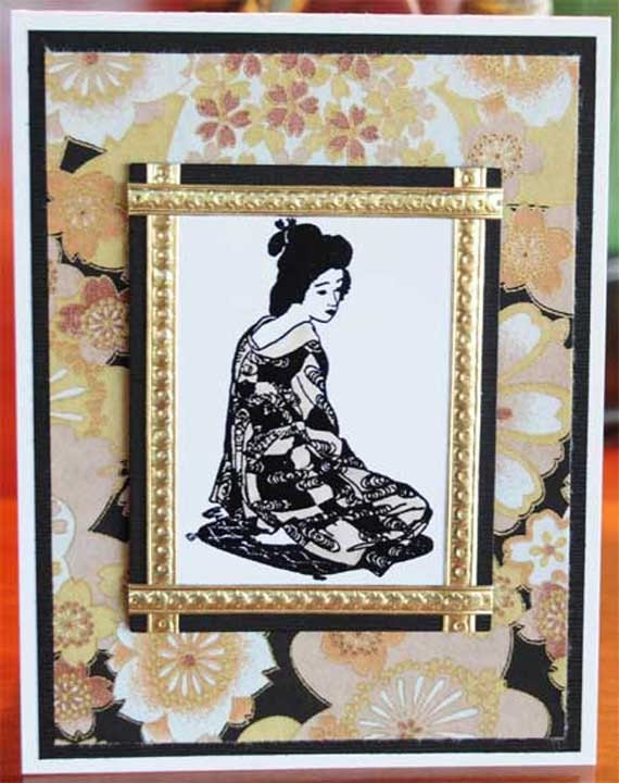Oriental Woman on Pillow with Japanese Yuzen Paper All Occasion Blank Card