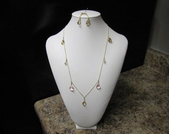 Gold & Pink Swarovski Crystal in Gold Filled Set