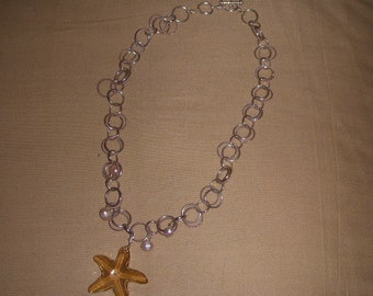 Gold Swarovski Crystal Starfish in Double Strand of Sterling Silver Choker