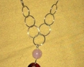 Red Swarovski Heart and Rose Quartz Set in Sterling Silver Necklace