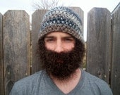 Camo duck hunter beard hat gray and brown hat with black beard READY T