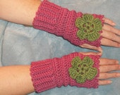 Fingerless Texting Gloves Old Rose Pink with green flower