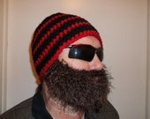 Beard hat lumberjack colors in red and black stripes with a brown face mask