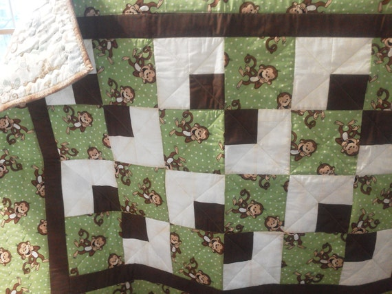 Baby Quilt Monkeys with Green Dots and Brown Trim