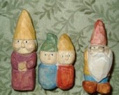 Gnome Family of Carved Wooden Dolls
