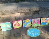 Hand Painted Canvas Squares inspired by Lilly Pulitzer Prints (Monogram Available)