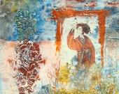 PRINT of Mixed Media Painting, Asian Geisha Cranes, Orange Blue Yellow, Encaustic Beeswax Resin, Doorway