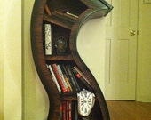 Free shipping/Handmade 4ft Curved Bookshelf Oak Stained/Blk