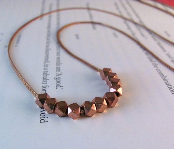 Galaxy - Long Geometric Necklace in Solid Copper