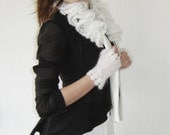 Made to Match White Ruffle Scarf and Fingerless Gloves - Crochet Collar Scarf and Lace Wrist Warmers - White Lace Scarf and Arm Warmers