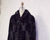 Vintage 1920s fur cape - sheared black fur short cape  Cyber Monday sale  1930s 1940s