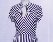 Vintage 1940s dress black and white striped MADE TO ORDER