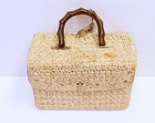 Vintage 1950s straw square purse with faux bamboo handle in bakelite