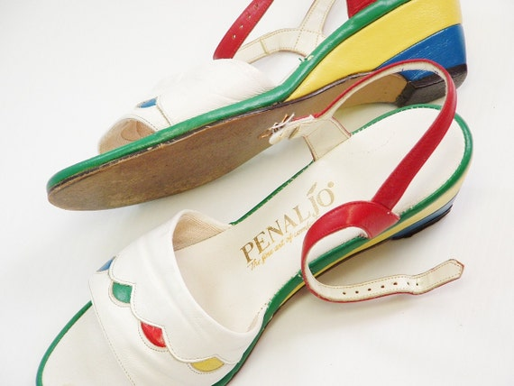 Vintage 1970s beach dress sandals white blue green red blue yellow Penaljo  made in the US funky fun bright