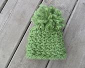 moss green baby knit hat with pom pom
