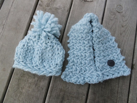blue knit baby hat and neck wrap set