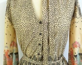 """Vintage 1970's """"Dancing Ladies"""" Dress"""