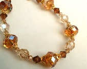 Austrian crystal bead bracelet, golden brown colors, Gold Vermeil bead caps,14k Gold Fill, Fall crystal jewelry, honey tones gold jewelry
