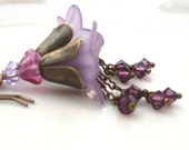 Mauve flower earrings, lucite. Purple Swarovski crystal chain dangle earrings. Lucite flower earrings, antique brass. Mauve flower jewelry