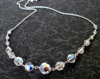 Classic bridal crystal necklace, Austrian crystal Aurora Borealis graduated beads wirewrapped on chain, Sterling Silver crystal jewelry