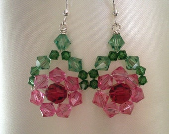 Bead flower earrings, green pink crystal, Silver wirewrapped, Sterling hooks, crystal bead flowers, pink flower jewelry, crystal jewelry