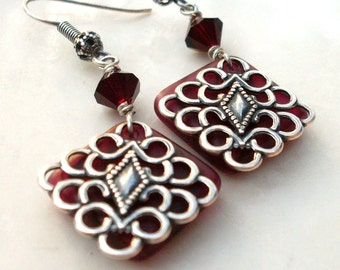 Red matte glass filigree earrings, red and black drops, Czech glass diamond shape bead pendant earrings, antiqued silver, red bead jewelry