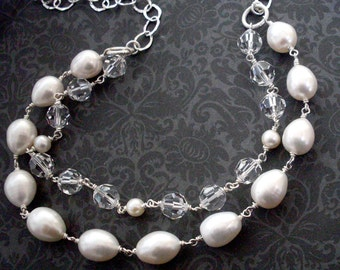 White pearl crystal necklace, double layer, big freshwater pearls, Austrian crystal, Sterling Silver, pearl jewelry, crystal jewelry