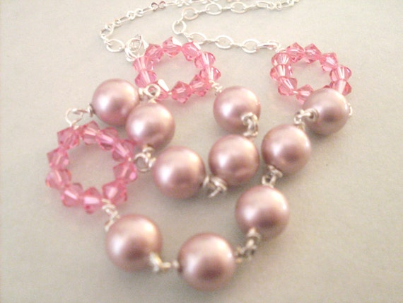Pink pearl necklace, wire wrapped dusty pink crystal pearls, rose pink Austrian crystal beaded loops, pink pearl jewelry