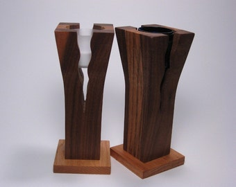Walnut and Oak Wooden Two-Tone Flower Vase and Candle Holder
