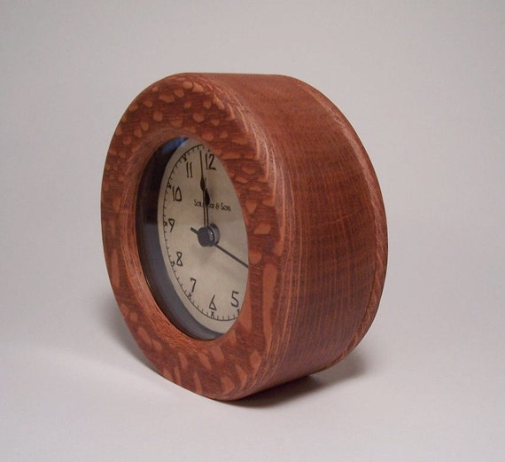 Round Leopardwood Desk Clock with Removable Back