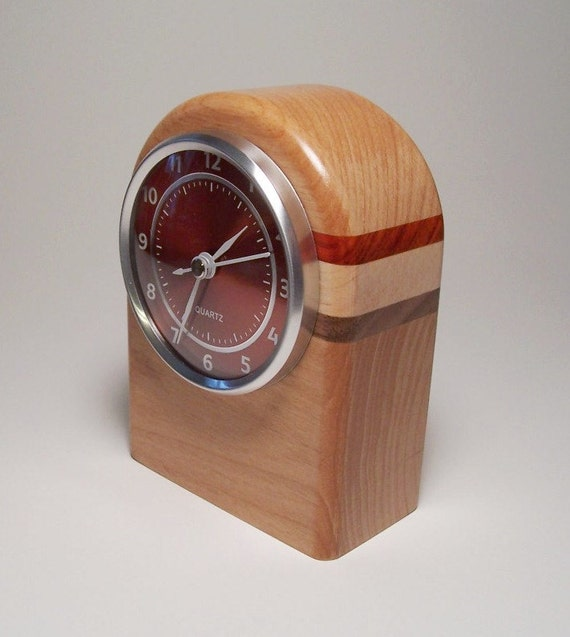 Small Wooden Mantle Desk Clock with Rugby Stripe Accents