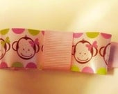 Pink Monkey Bow Hair Clippie