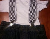 Black and white checkered infant suspenders