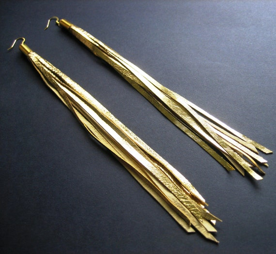 SALE / Extra long leather earrings - gold tassels