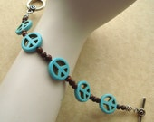 Hippie Chic Turquoise Peace Sign Toggle Bracelet